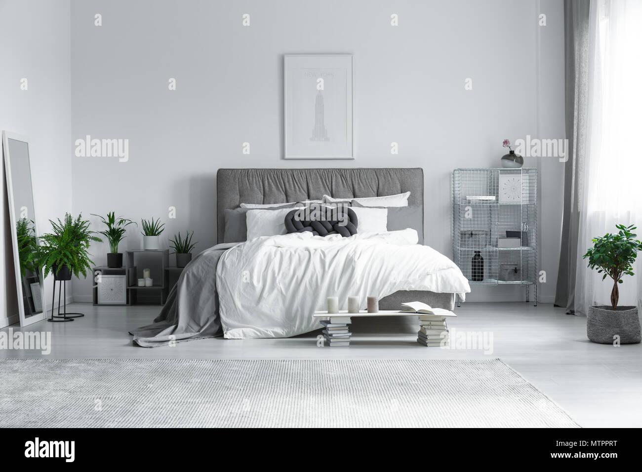 Grande tappeto grigio sul pavimento nella luminosa e moderna camera ...