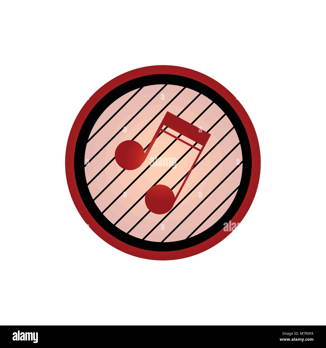 Logo Con Cresta Rosso Nota Musicale In Un Nero Ed Un Cerchio Rosso