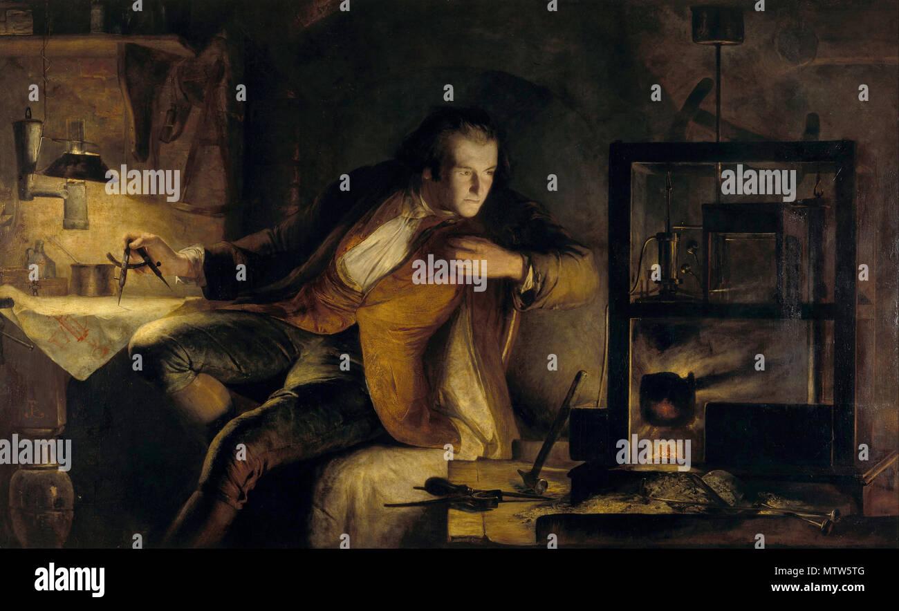 James Watt e il motore di vapore: All'alba del XIX secolo, 1855 da James Eckford Lauder Immagini Stock