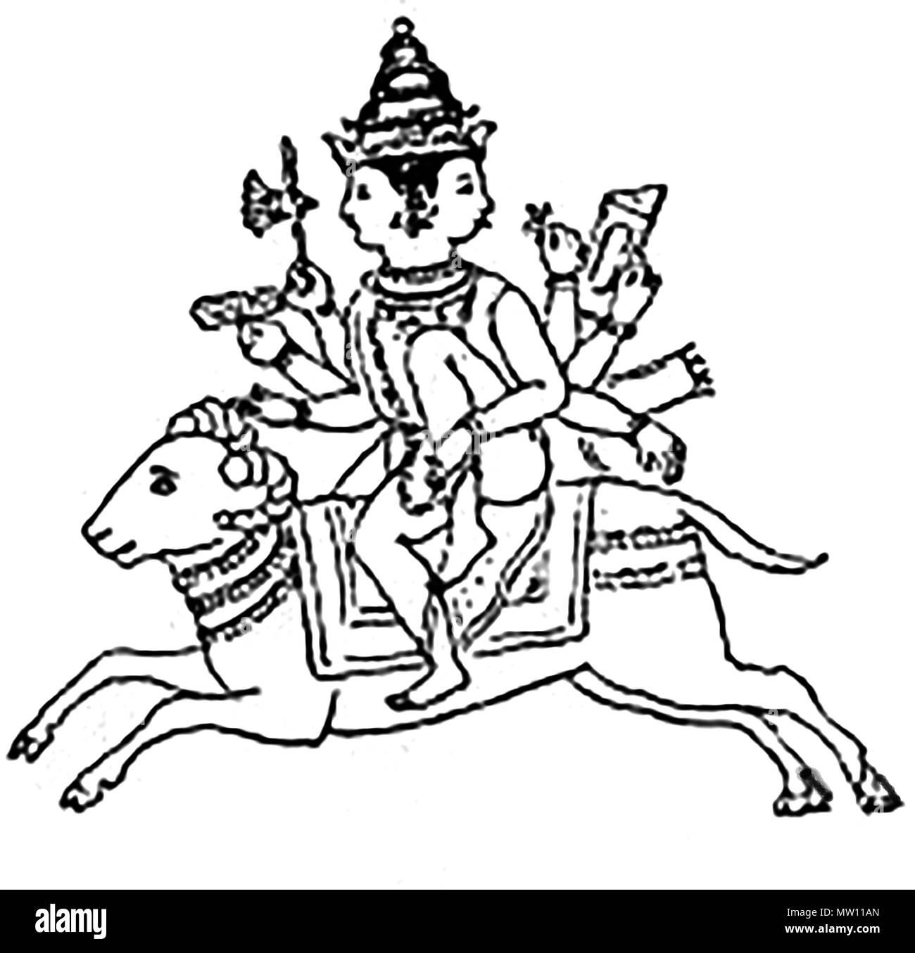 AGNI , antica indù fuoco Vedico Dio che è montato su una ram Immagini Stock