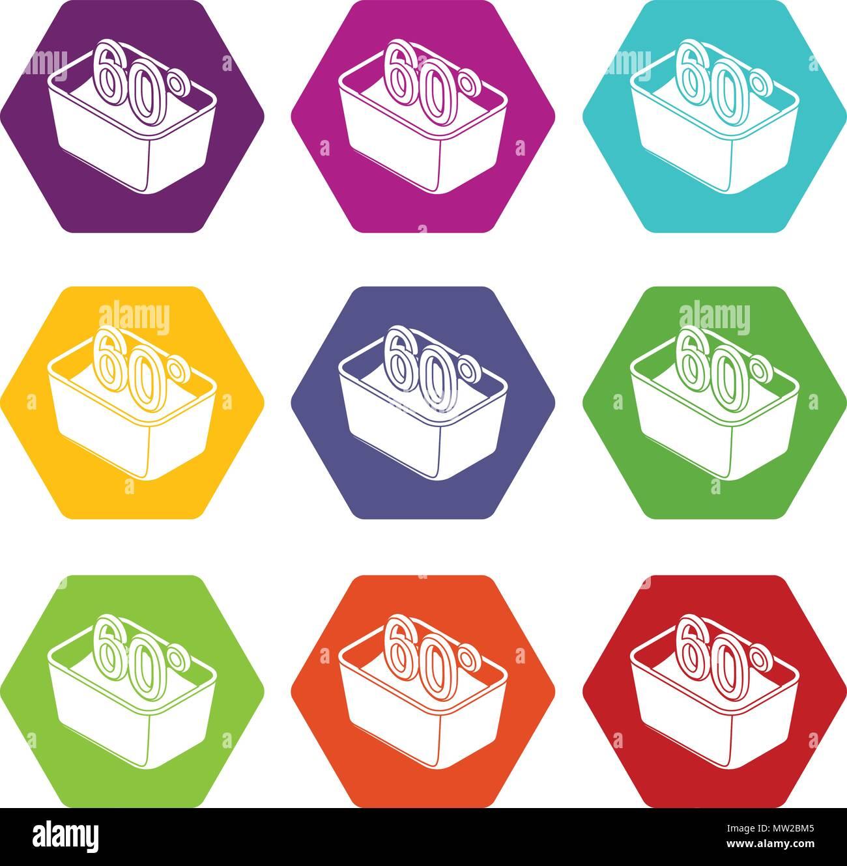Lavare A Mano 60 Gradi Celsius Serie Di Icone 9 Vector Illustrazione