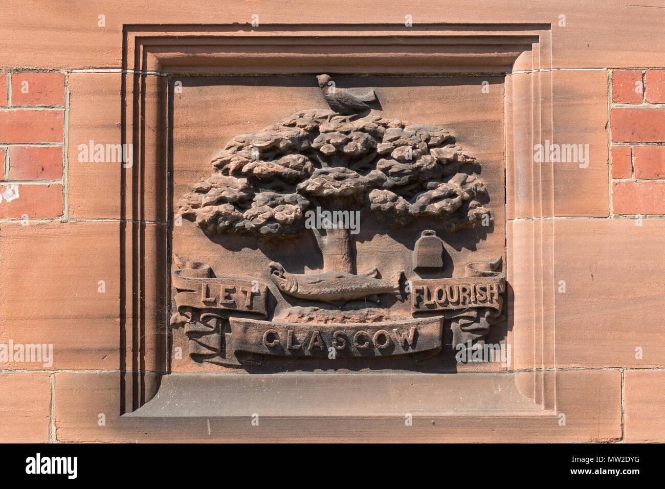Glasgow stemma in Glasgow Botanic Gardens, Scotland, Regno Unito Immagini Stock