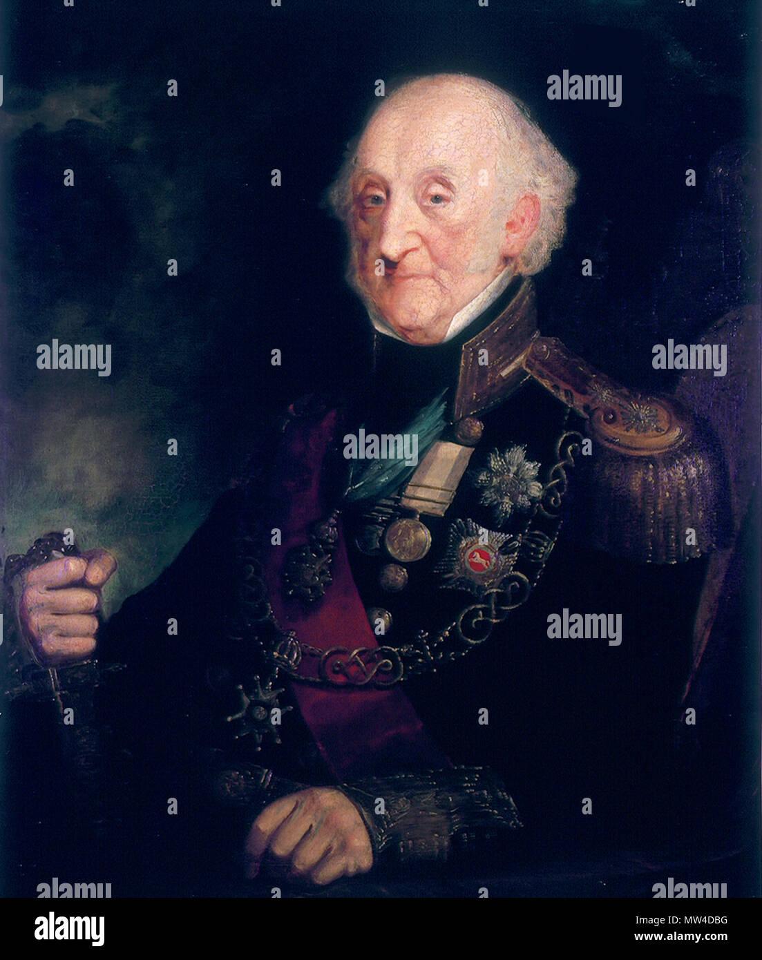. Inglese: Vice Ammiraglio Charles Bullen (1769-1853) olio su tela 91,5 x 71 cm firmato: A. Concessione 1849 . 1849. A. Concessione 630 Vice Ammiraglio Charles Bullen (1769-1853), con una sovvenzione Immagini Stock
