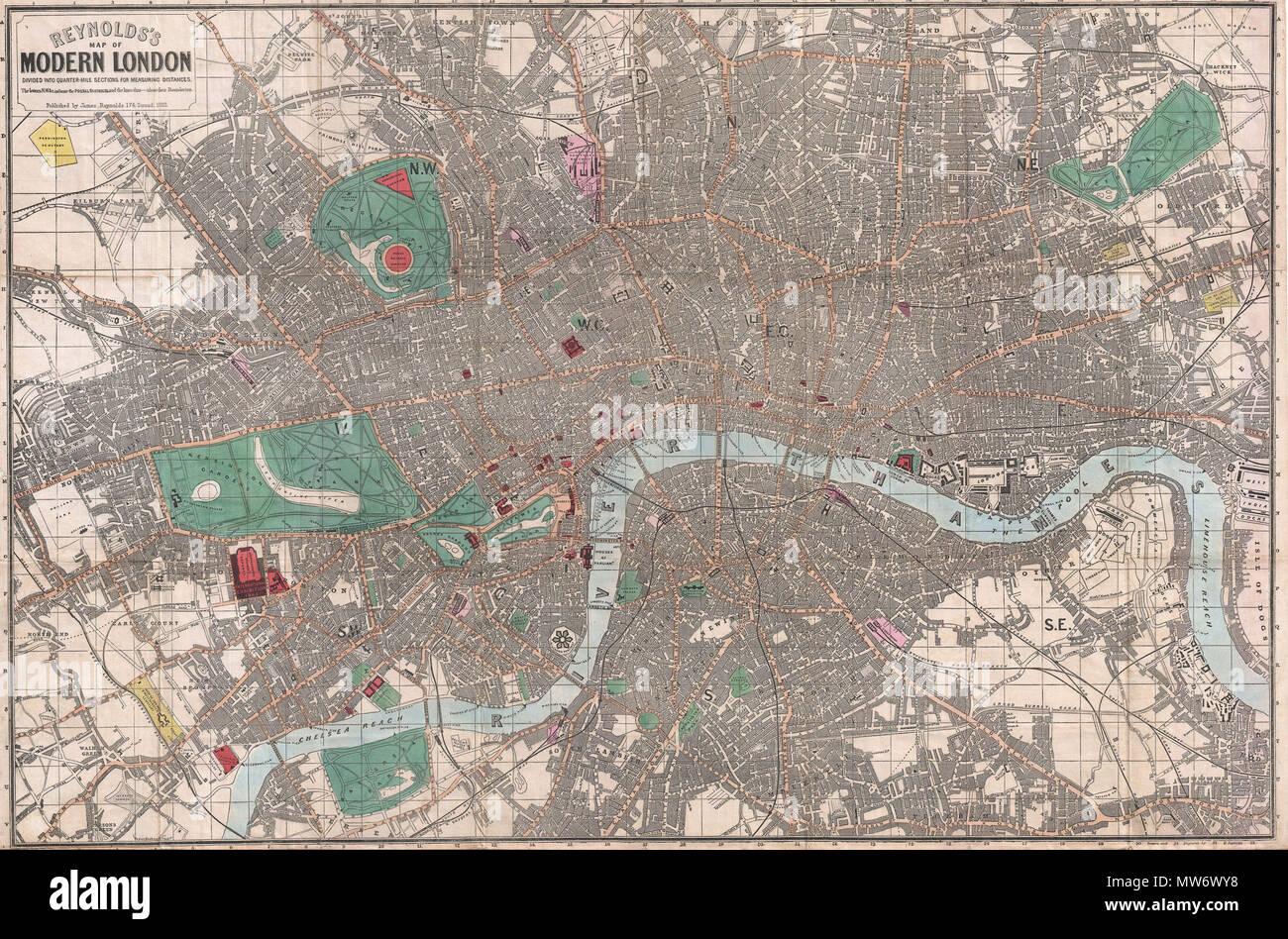 Cartina Di Londra Monumenti.La Reynolds La Mappa Di Moderno London Diviso In Sezioni Quarter Mile Per La Misurazione Di Distanze Inglese Un Esempio Incontaminate Di James Reynolds 1662 Pocket Mappa Di Londra Inghilterra Copre Il