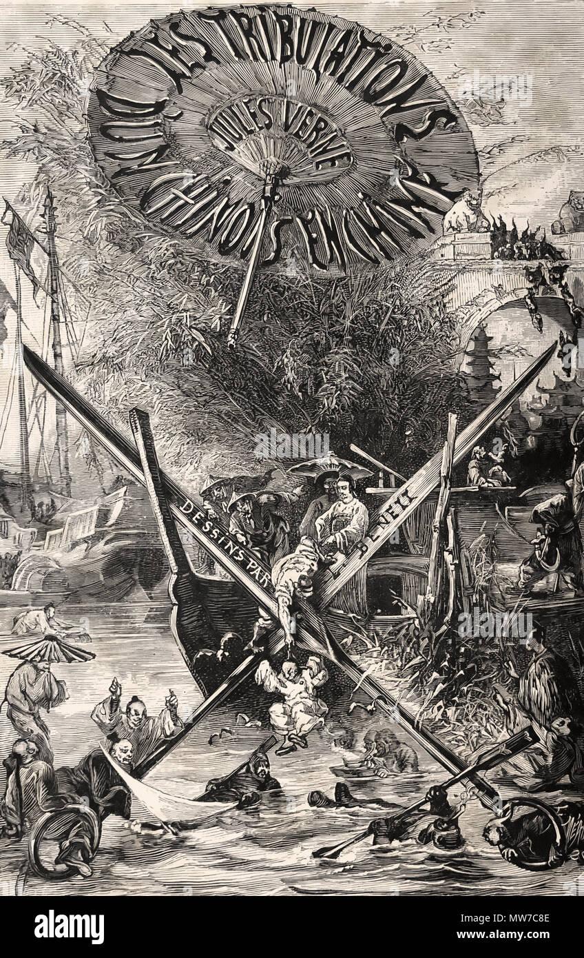 """Mezza pagina titolo da 'tribolazioni di un Chinaman in Cina """" di Jules Verne. Parigi: J. Hetzel, (1895). Immagini Stock"""