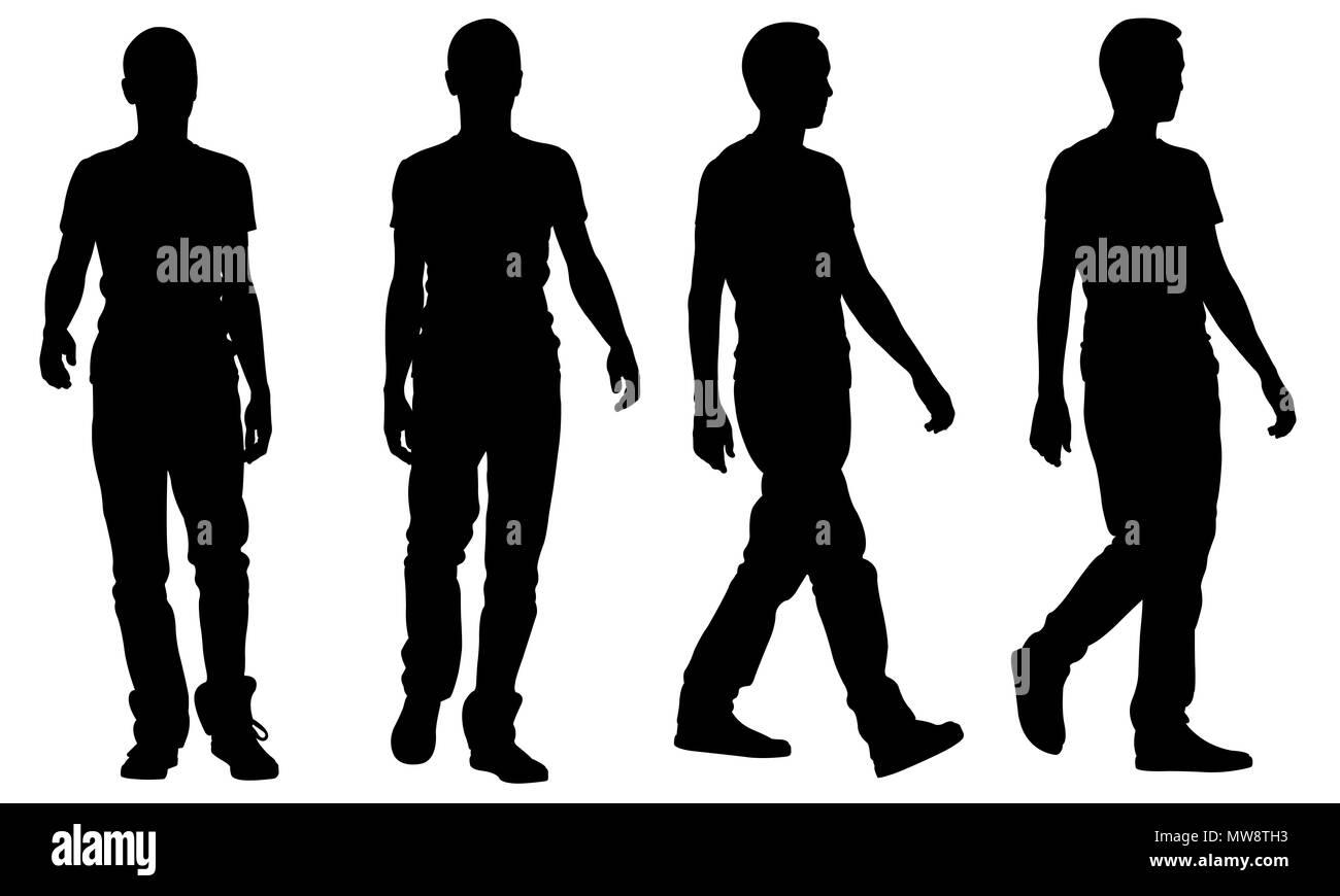Sagome Persone Che Camminano.Sagome Di Camminare Persone Isolate Su Bianco Foto