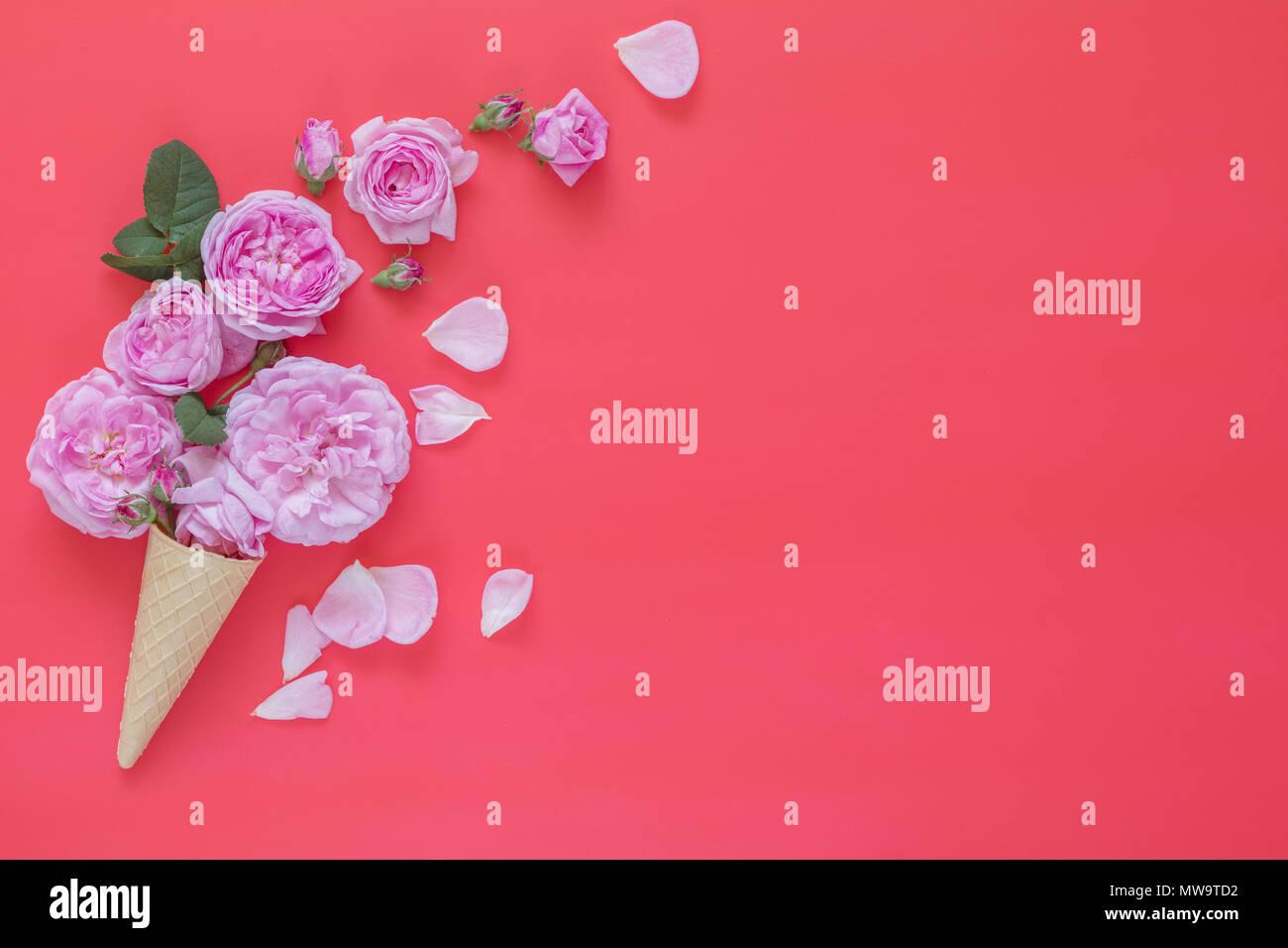Cono Di Cialda Con Il Rosa Rose Bouquet Di Fiori Su Sfondo Rosa