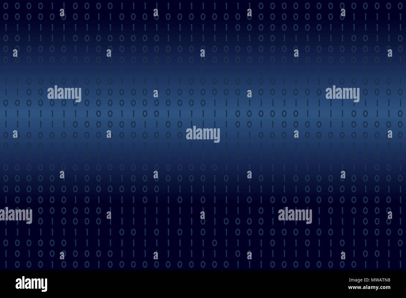 Dati binari digitali su blu e bianco gradiente dello sfondo. Moderno, scienza, tecnologia, computer virus, pirateria, rete nel cyberspazio concetti. Immagini Stock