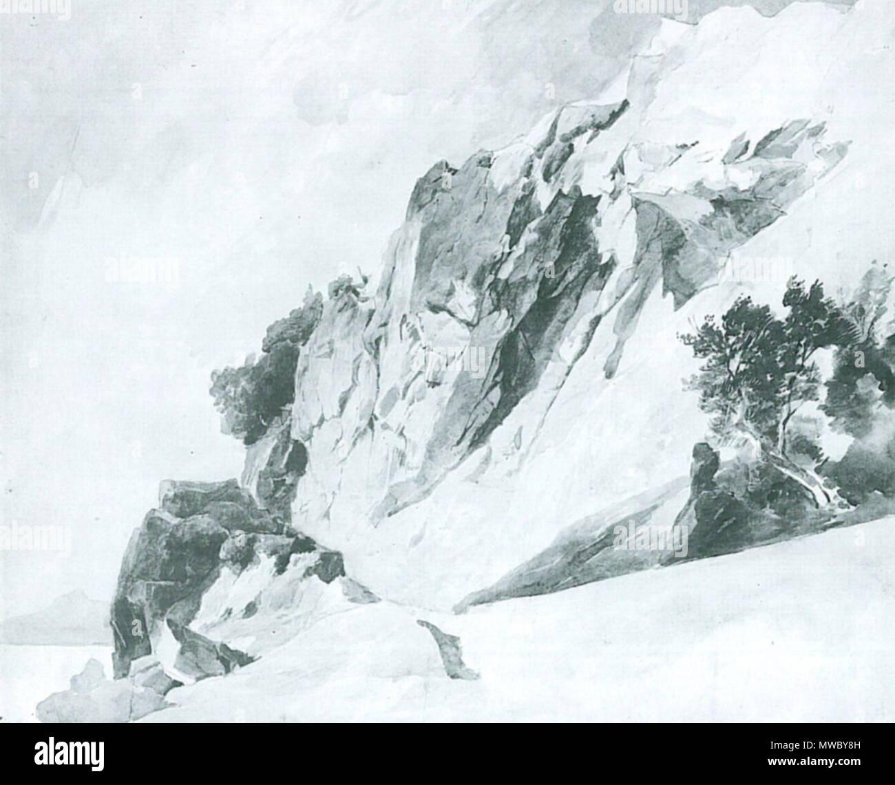 . Deutsch: Edmund Kanoldt: Felsen am Meer. 48 × 61 cm. Aquarell über Bleistift auf Papier. La Kunsthalle di Mannheim . circa 1890. Edmund Kanoldt (1845-1904) 177 Edmund Kanoldt Felsen am Meer Immagini Stock