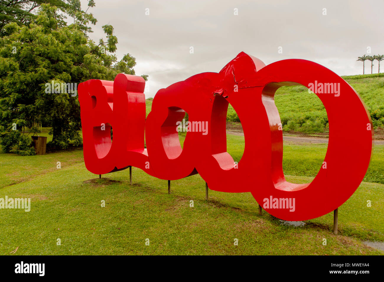 """Sangue"", una scultura da Thierry Alet a dimora Clément, Martinica Immagini Stock"