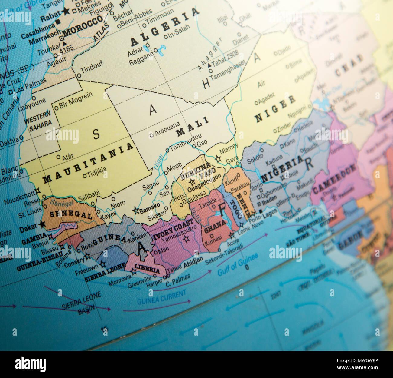 Africa Occidentale Cartina.Africa Occidentale Mappa Su Un Globo Focalizzata Sulla Costa
