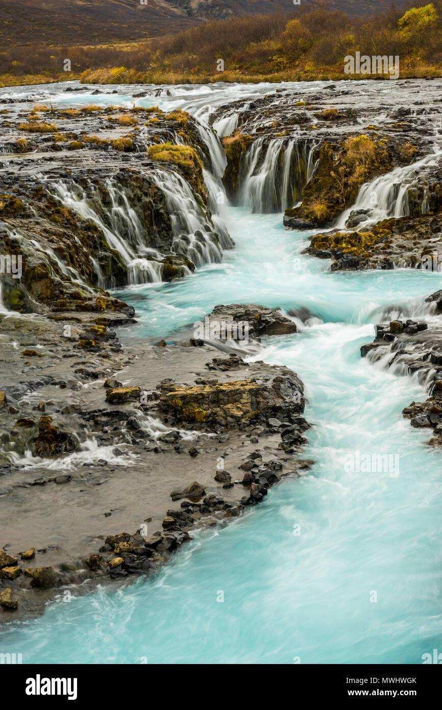 Natural whirl pool a Bruarfoss, Golden Circle, Islanda Foto Stock