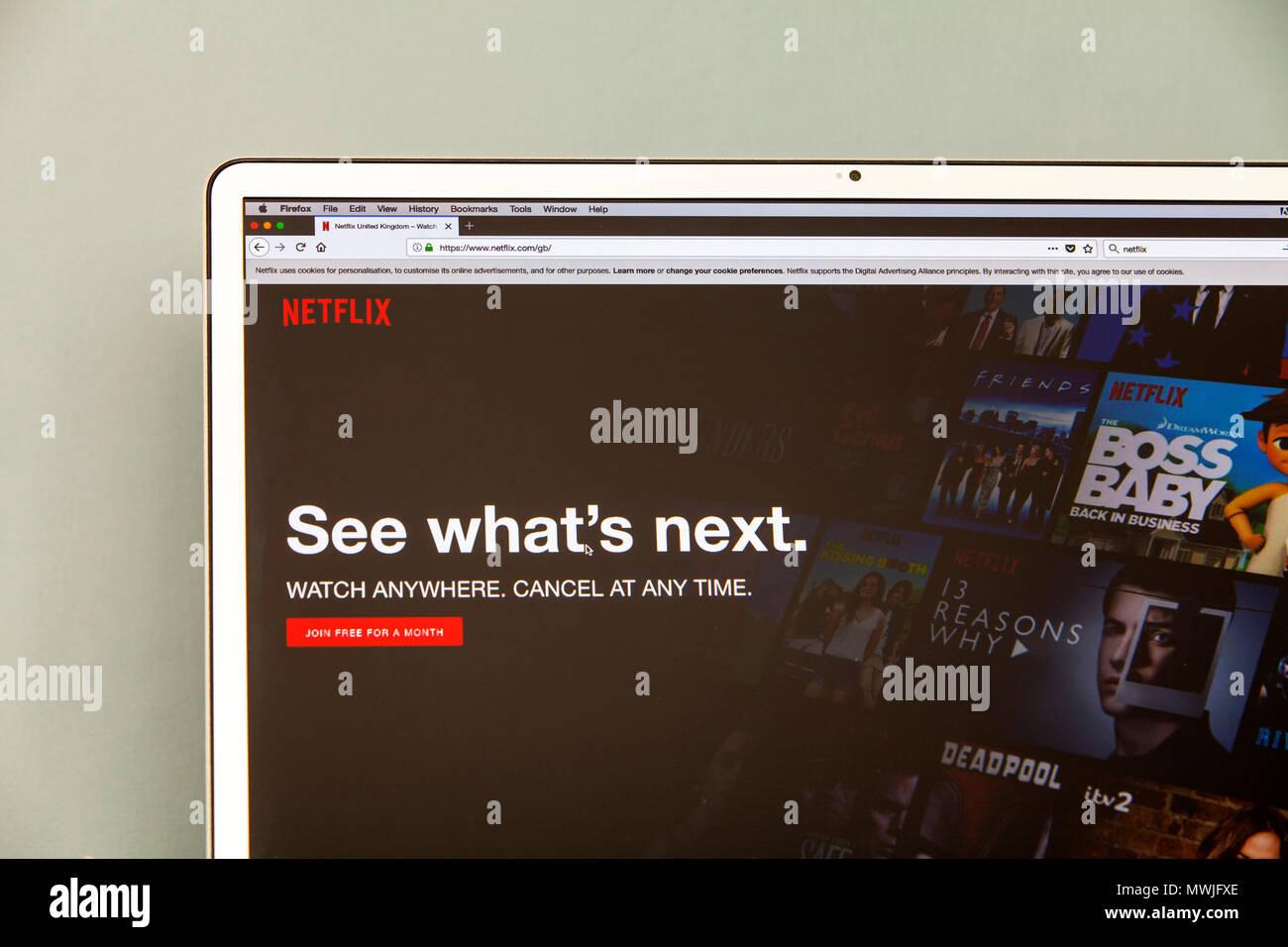 Homepage di Netflix, Netflix.com, Netflix servizio streaming di Netflix, pellicole, Netflix, sullo schermo il logo di Netflix, filmati Netflix & mostra online online Netflix Immagini Stock