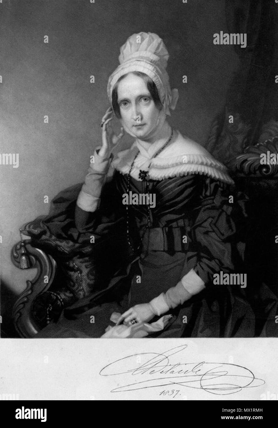 . Ritratto della Regina Adelaide Amelia Louisa Teresa Carolina di Sassonia-Coburgo Meiningen, consorte di Guglielmo IV . Firmato 1837, sebbene NPG rivendicazioni 1844. Dopo John Lucas 434 Mw18026 Foto Stock