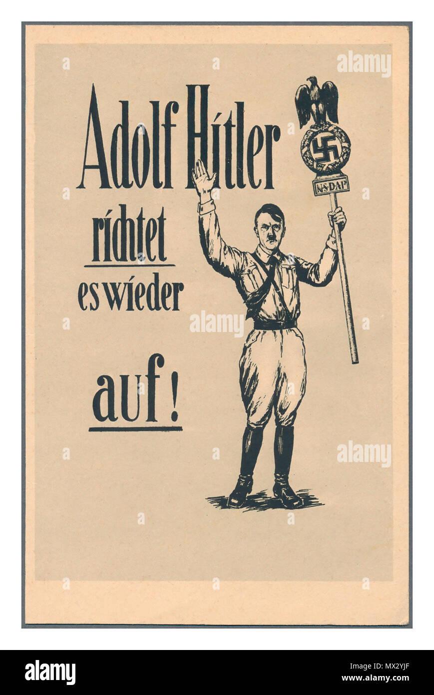 """L'annata 1930 Germania NSDAP cartolina di propaganda """"Adolf Hitler si dirige verso il backup"""" Hitler chiedendo per popolare il supporto degli elettori del Nazista Tedesco partito NSDAP tenendo un banner con aquila tedesca , Swastika e NSDAP simbolo Immagini Stock"""