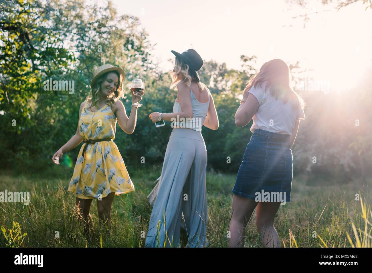 Un gruppo di ragazze amici facendo picnic all'aperto. Essi hanno divertimento Immagini Stock