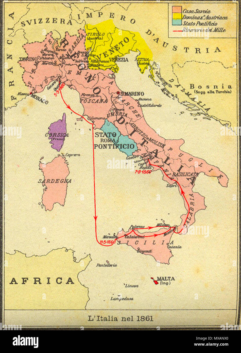 Cartina Italia In Inglese.Inglese Italia 1861 Mappa Italiano Mappa D Italia Al 1861 Sconosciuto 302 Italia Al 1861 Foto Stock Alamy