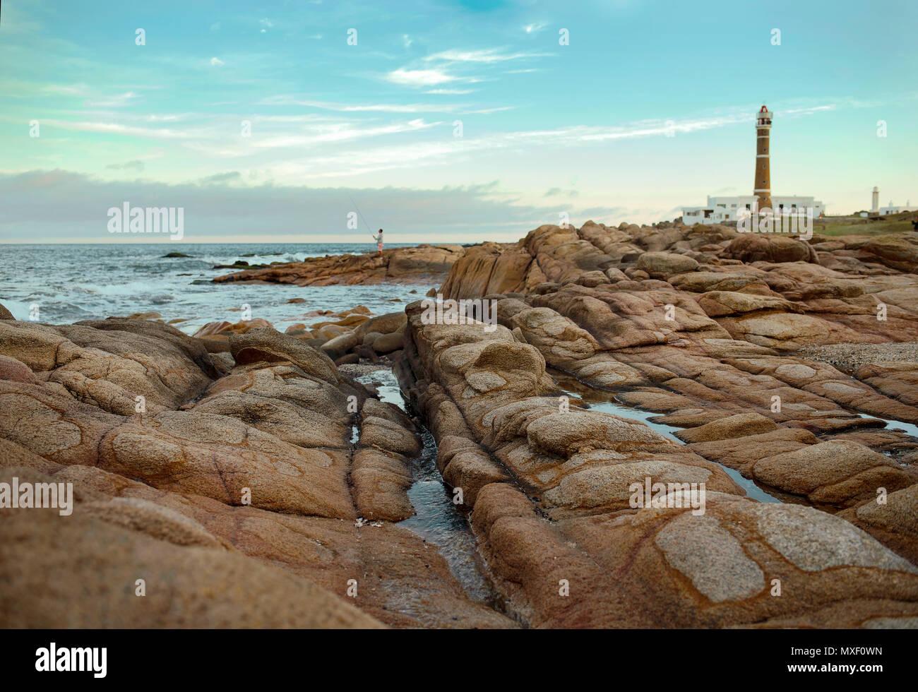 Cabo polonio e il suo faro in background. Patrimonio mondiale dell'UNESCO. Uruguay, Sud America Immagini Stock