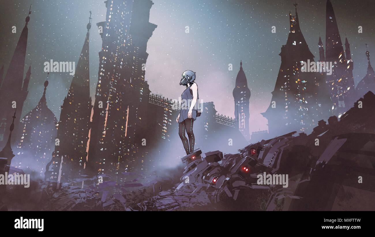 Cyborg donna in piedi su cumuli di rifiuti di apparecchiature elettroniche contro la città futuristica, arte digitale stile, la pittura digitale Immagini Stock