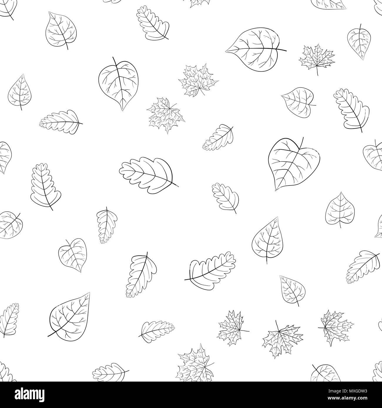 Vettore Di Astratta Doodle Foglie Di Autunno Seamless Pattern