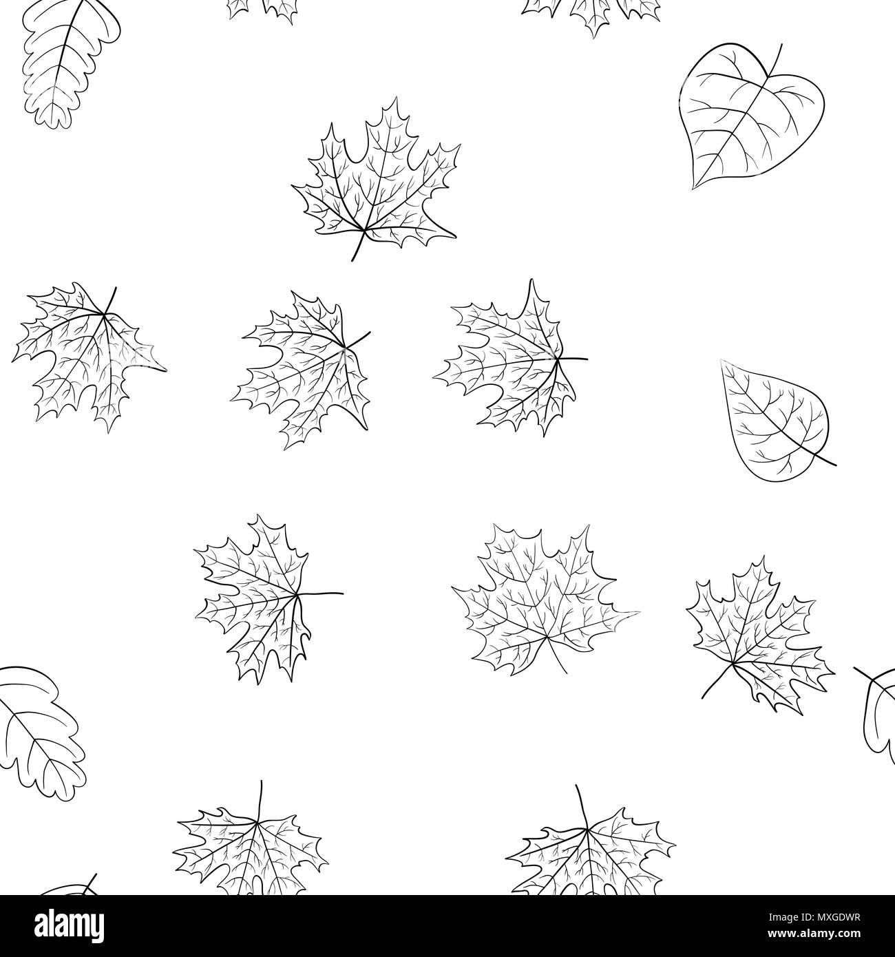 Vettore Di Astratta Doodle Foglie Di Autunno Seamless Pattern Libro Da Colorare Immagine E Vettoriale Alamy