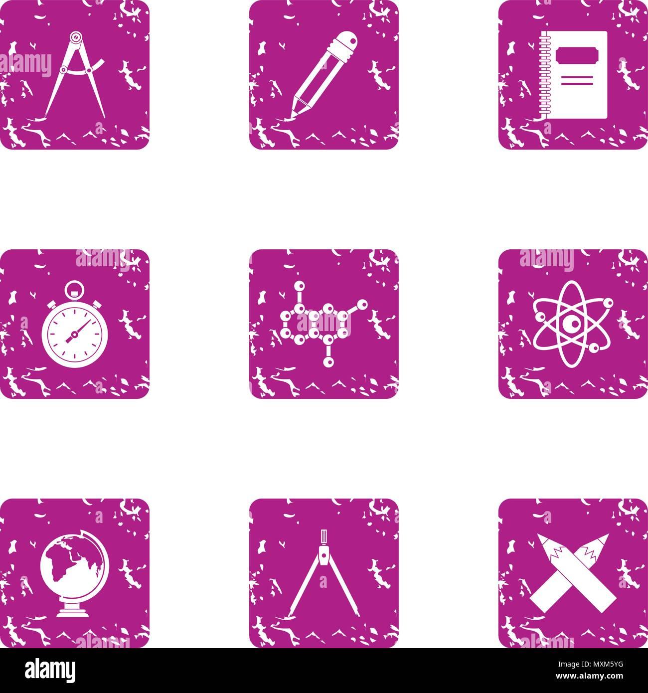 Microcosmo set di icone, stile grunge Immagini Stock