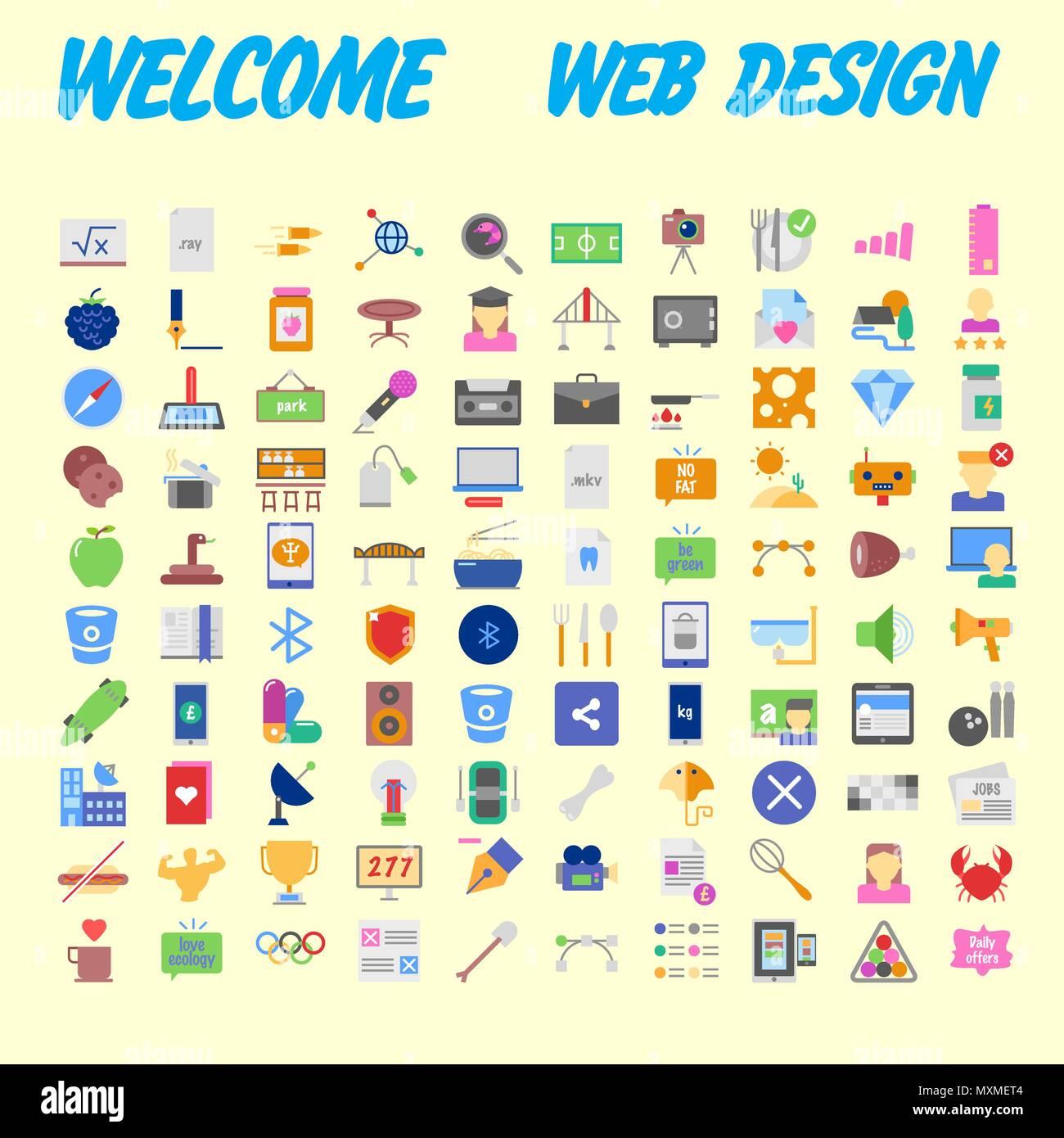 f432b9aac7 Set di 100 flat web icone sui seguenti temi - SEO e sviluppo, processo  creativo