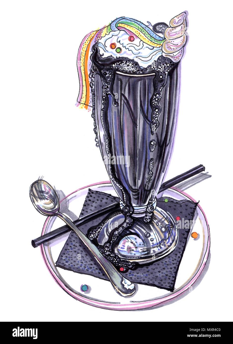 Black ice cream unicorn rainbow milk shake. Carino disegnato a mano pennarello indelebile immagine su sfondo bianco. Pastello alla Moda goth dessert estivo. Immagini Stock
