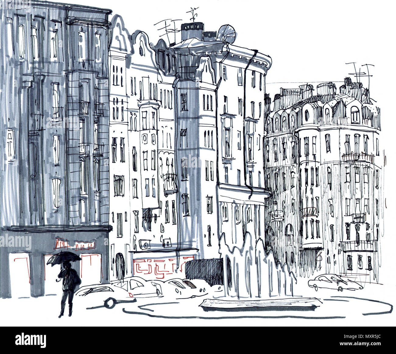 Scena cittadina. Sketchy stile disegnato a mano pennarello illustrazione in tonalità di grigio. Giorno di pioggia, vecchie case, street, fontana, automobili, figura umana con l'ombrello. San Pietroburgo, Russia. Immagini Stock
