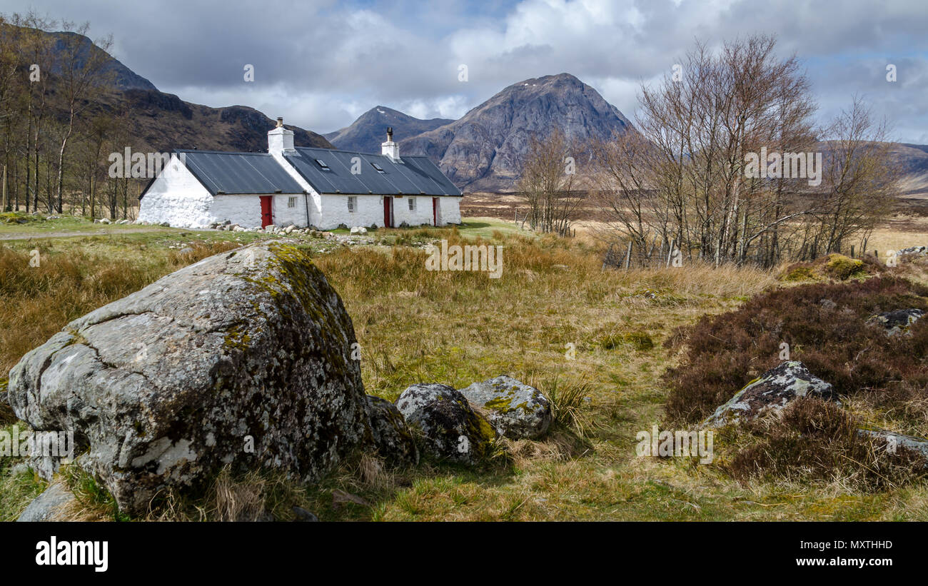 Black Rock Cottage, Glencoe Scozia. Immagini Stock