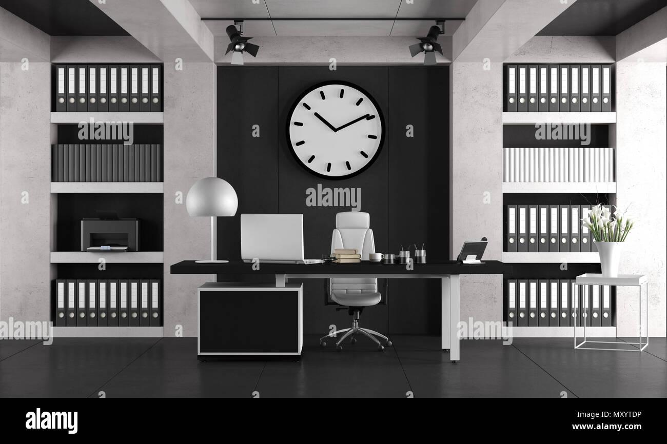 Libreria Ufficio Bianco : Bianco e nero per ufficio minimalista con laptop om scrivania e