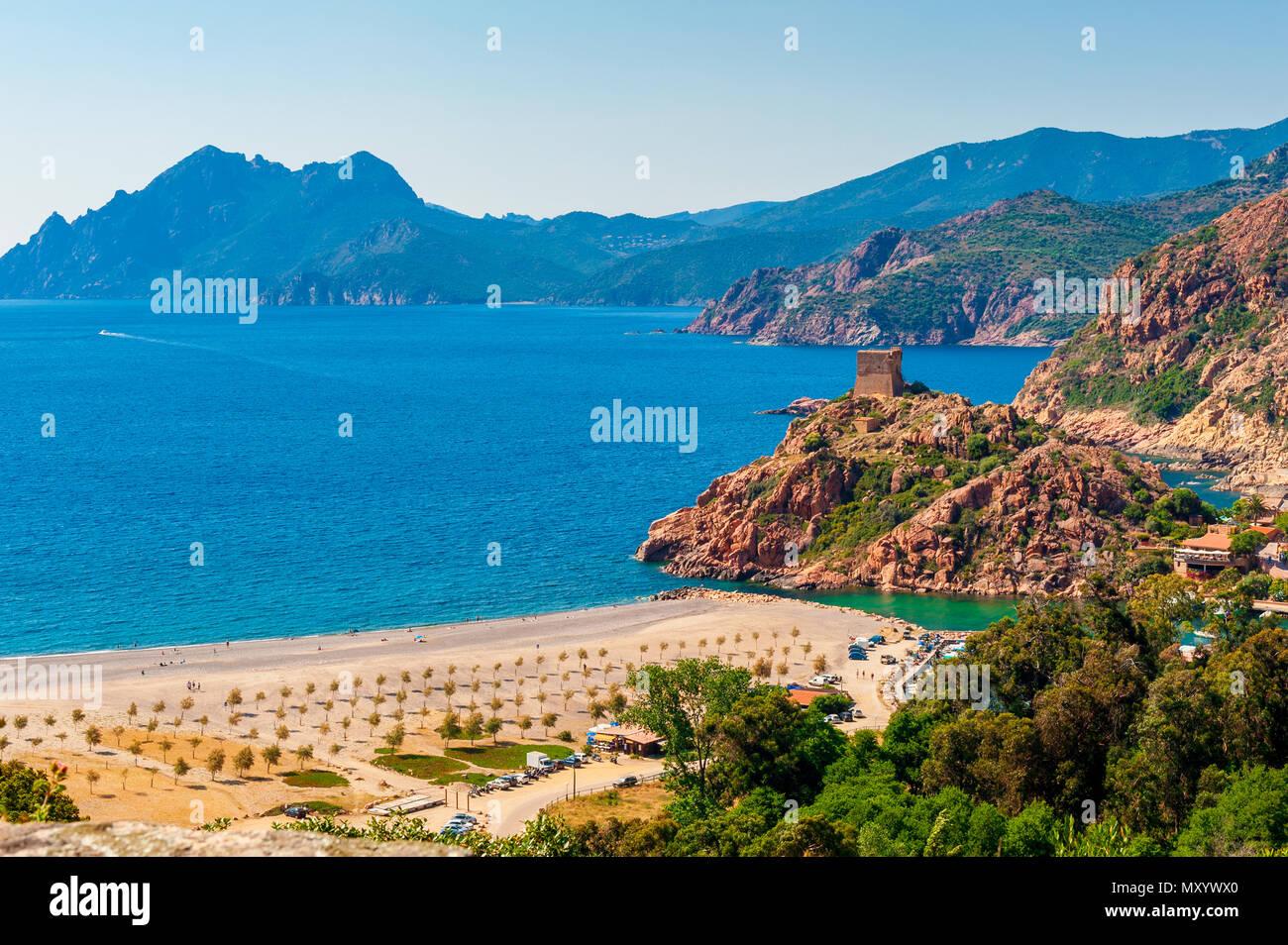 Villaggio costiero di Porto, Corsica, Francia Immagini Stock