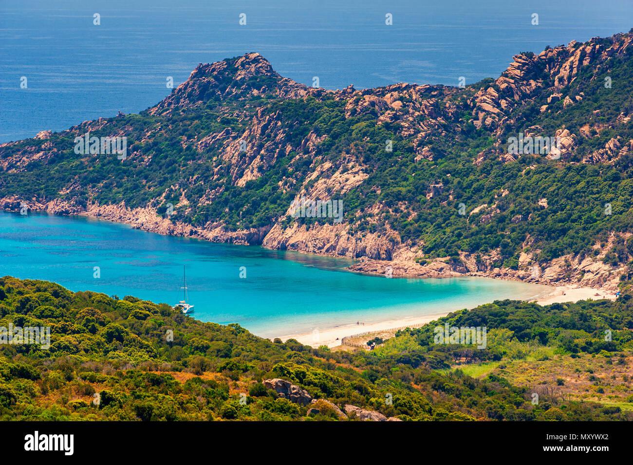 Remota spiaggia vicino a Sartène in Corsica, Francia Immagini Stock