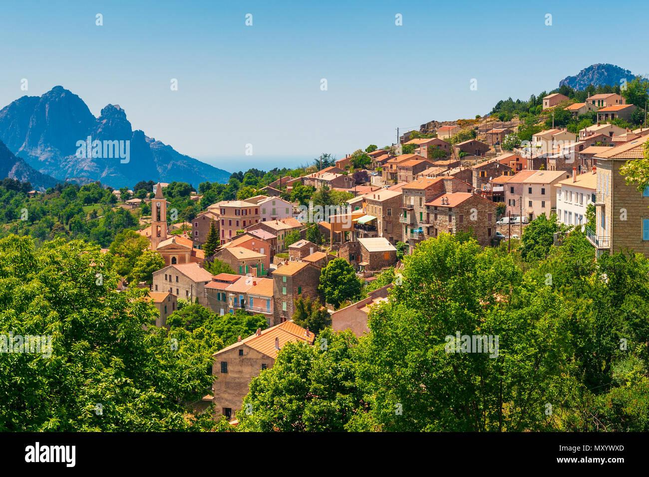 Villaggio di montagna di Evisa, Corsica, Francia Immagini Stock