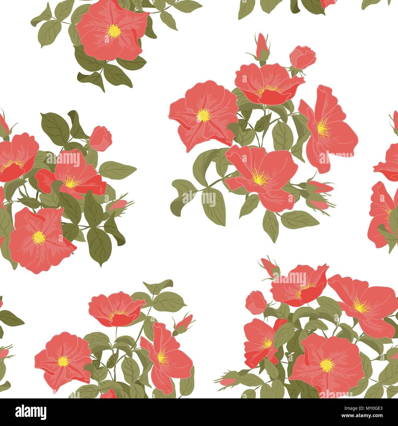 Impronte Di Vettore Fioritura Di Rose Selvatiche Seamless Pattern