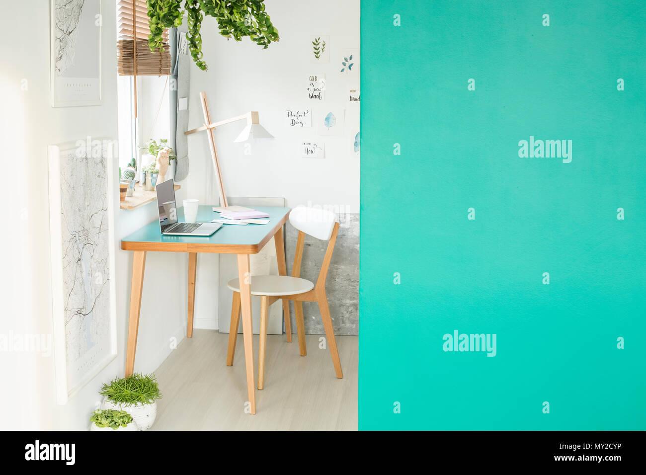Verde parete vuota con posto per il vostro prodotto in bianco spazio aperto interno con il computer portatile su una scrivania in legno, piante fresche fatte a mano e manifesti appesi a t Immagini Stock