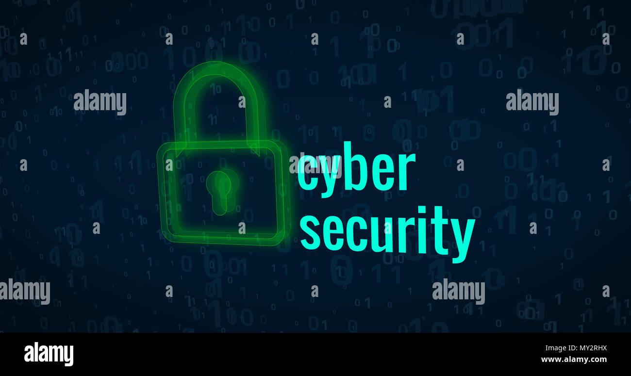 Cyber security e protezione del computer su sfondo digitale concetto astratto Foto Stock