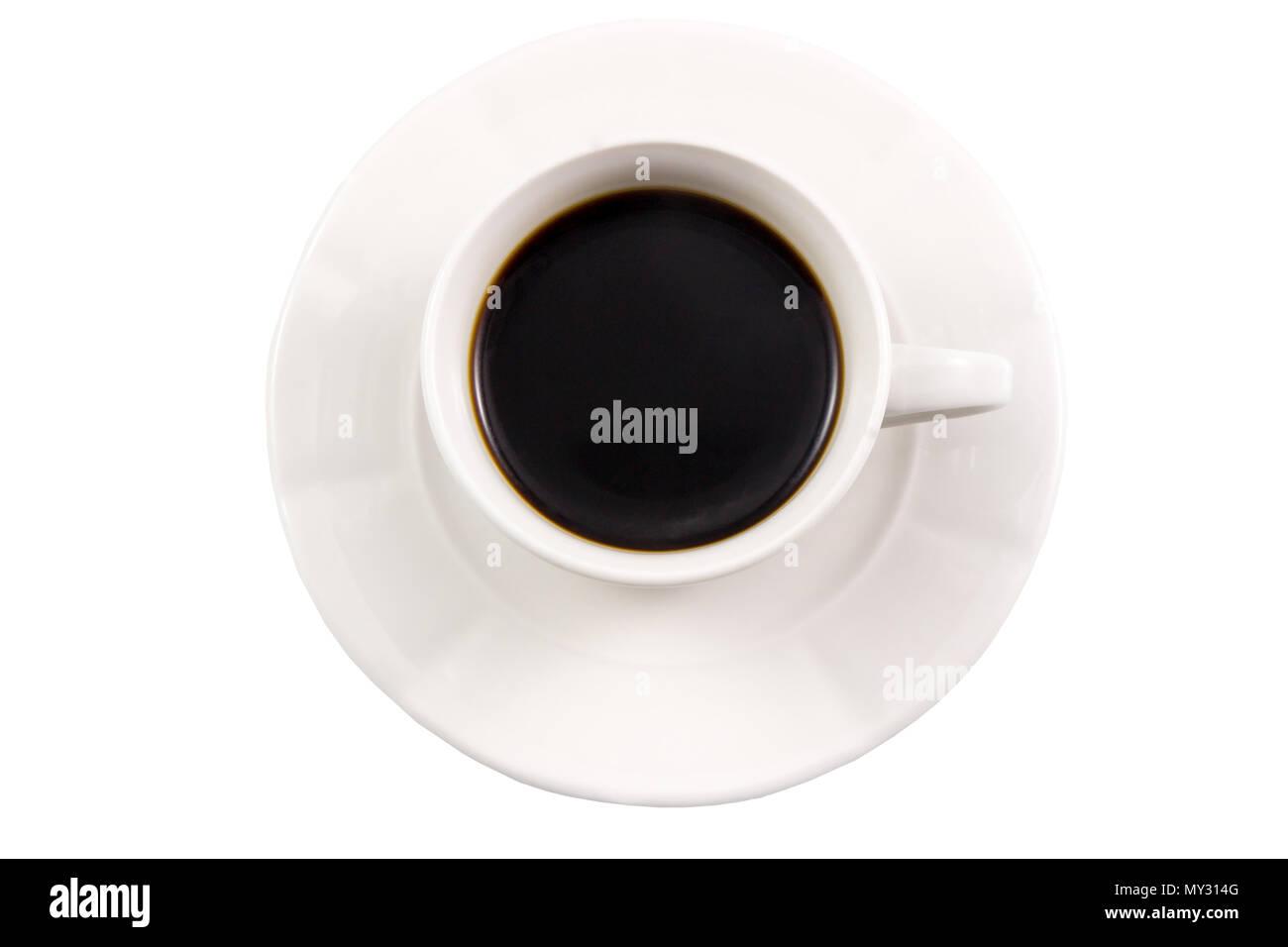 Vista dall'alto di un bianco tazze da caffè su sfondo bianco, caffè nero su bianco vista dall'alto. Immagini Stock