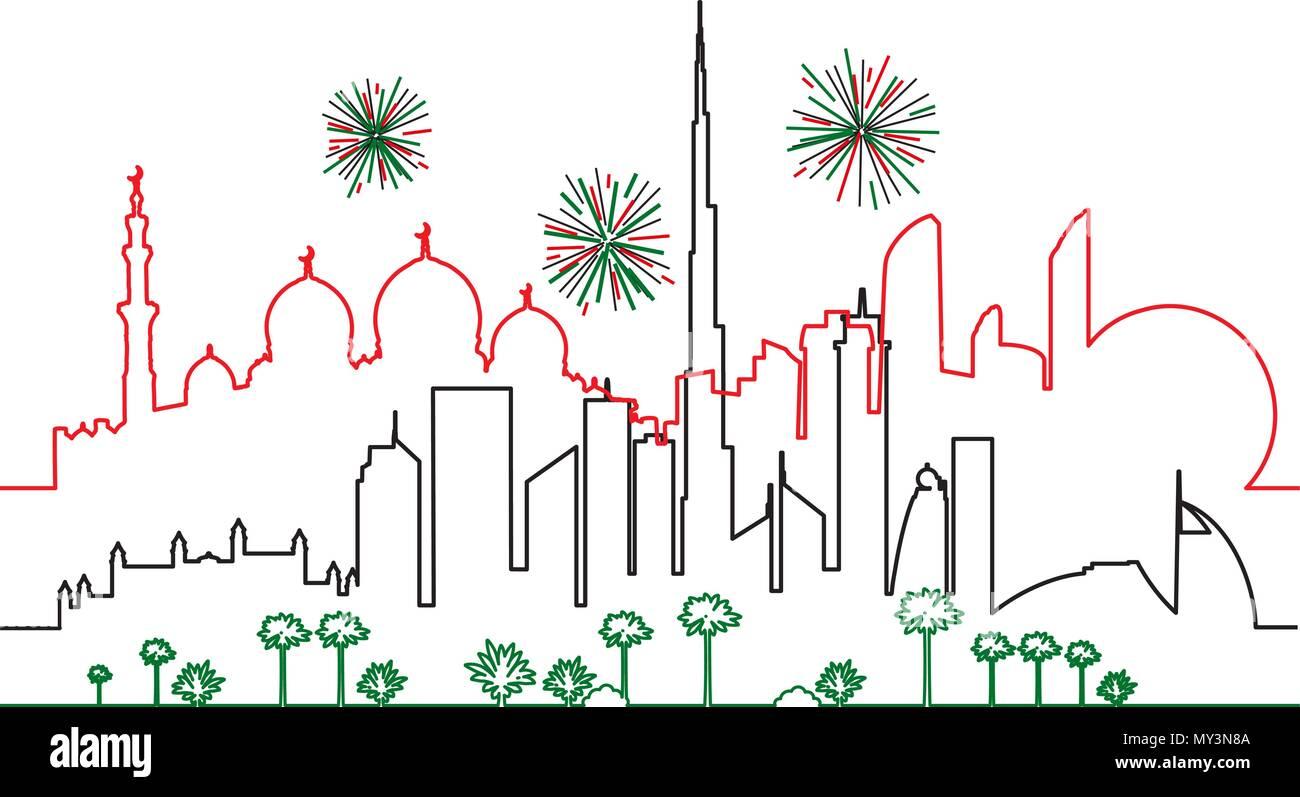 Fuochi Dartificio In Dubai E Abu Dhabi Città In Bandiera Nazionale