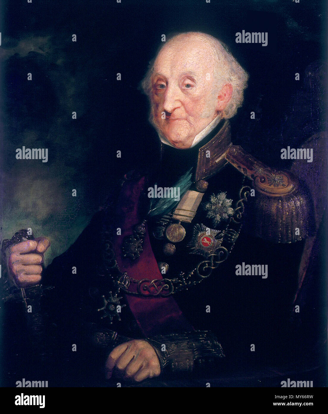 . Inglese: Vice Ammiraglio Charles Bullen (1769-1853) olio su tela 91,5 x 71 cm firmato: A. Concessione 1849 . 1849. A. Concessione 549 Vice Ammiraglio Charles Bullen (1769-1853), con una sovvenzione Immagini Stock