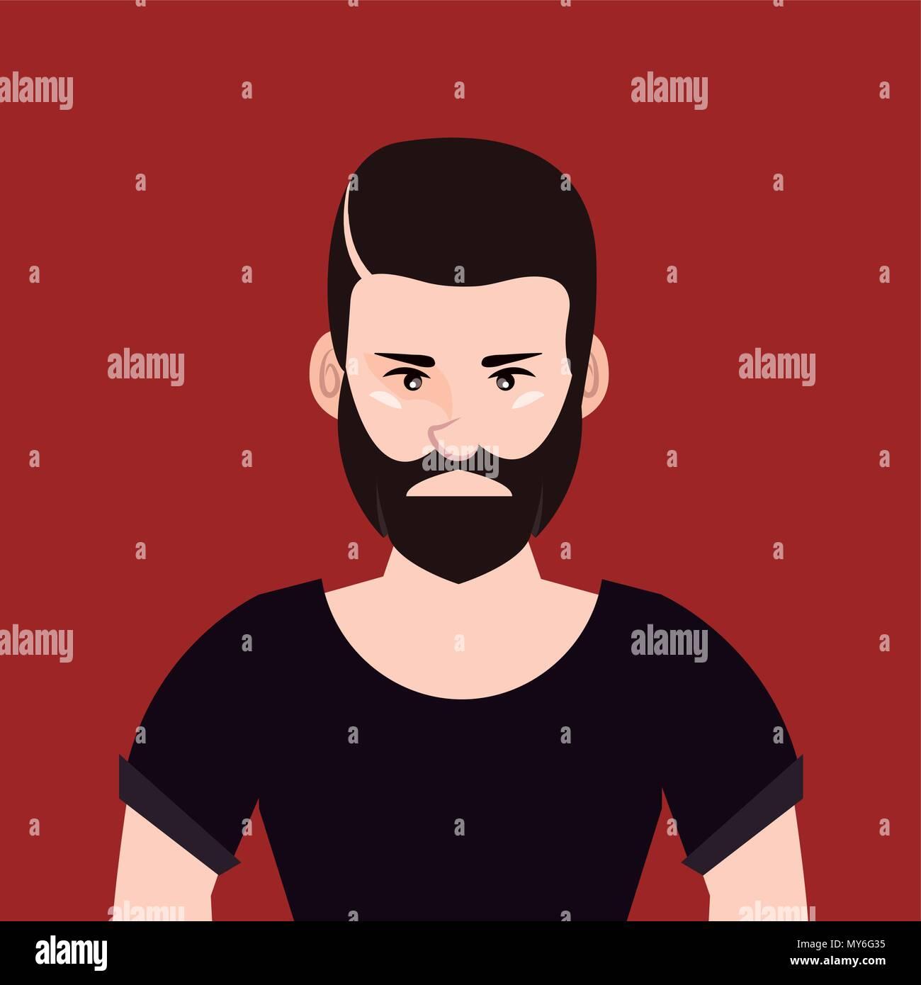 Hipster design in stile cartone animato con il giovane uomo con la