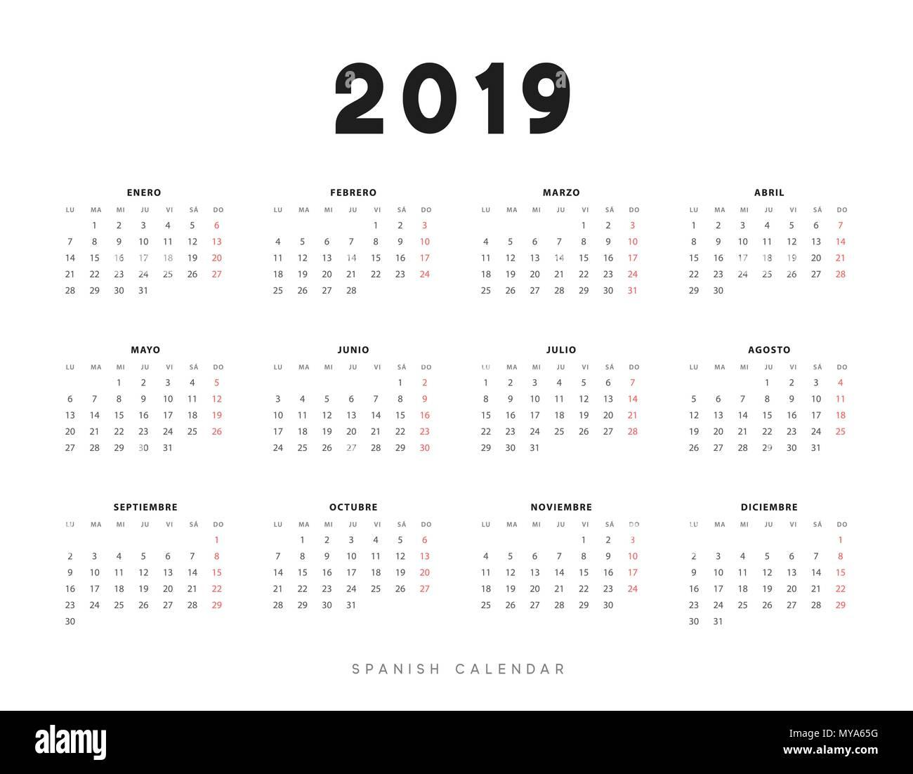 Calendario Spagnolo.Semplice Calendario Spagnolo Per 2019 Anni Settimana Inizia