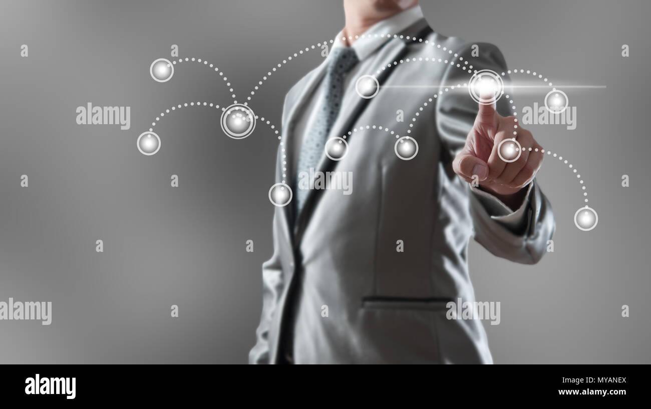 Imprenditore woking con la globalizzazione concetto di marketing Immagini Stock