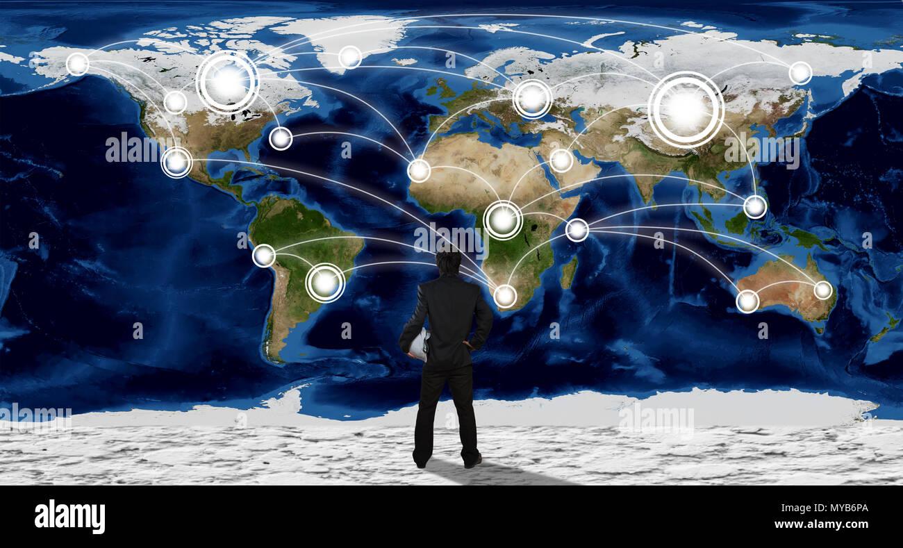 Imprenditore con la globalizzazione il concetto di rete Immagini Stock