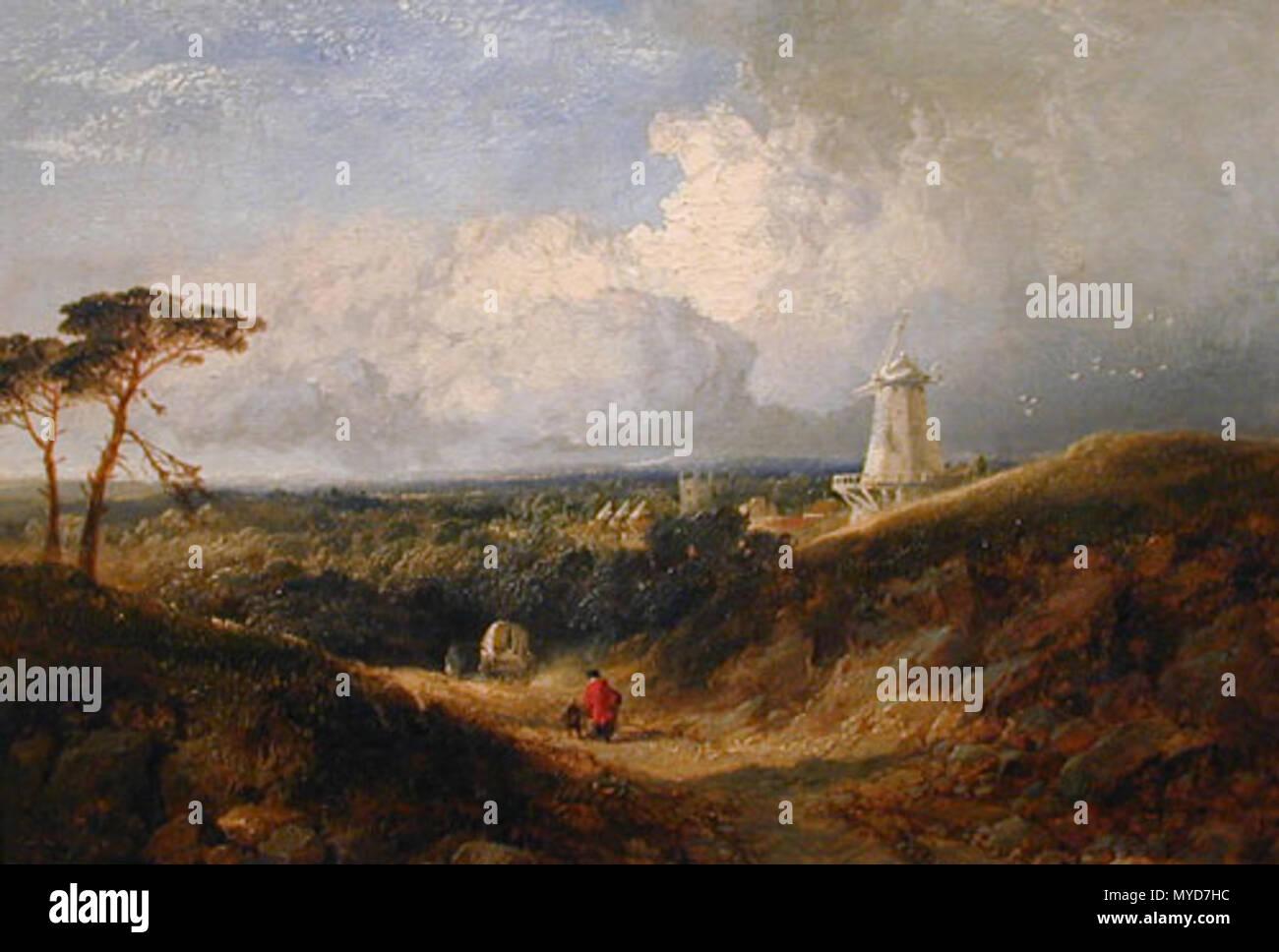 . Inglese: Pittura di Cranbrook, Kent. Il mulino è pensato per essere quello che si fermò a Cranbrook comuni e non l'Unione superstite Mill. Metà C19th. Edmund John Niemann (1813-76) 126 Cranbrook dipinto da Niemann Immagini Stock