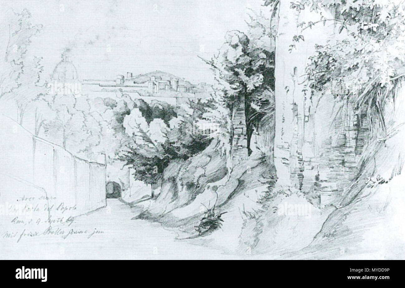 . Deutsch: Edmund Kanoldt: Arco scuro vor Porta del Popolo. 17,2 × 27,1 cm. Bleistift auf Papier. La Kunsthalle di Mannheim . circa 1869. Edmund Kanoldt (1845-1904) 153 Edmund Kanoldt Arco scuro vor Porta del Popolo Immagini Stock