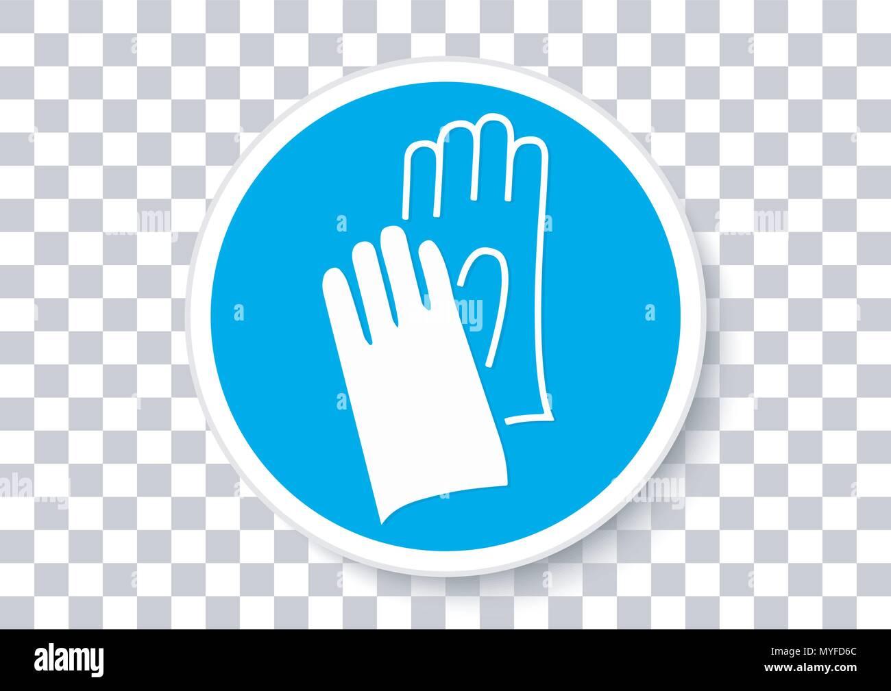Il design del vettore di guanti di sicurezza devono essere indossate segno Immagini Stock