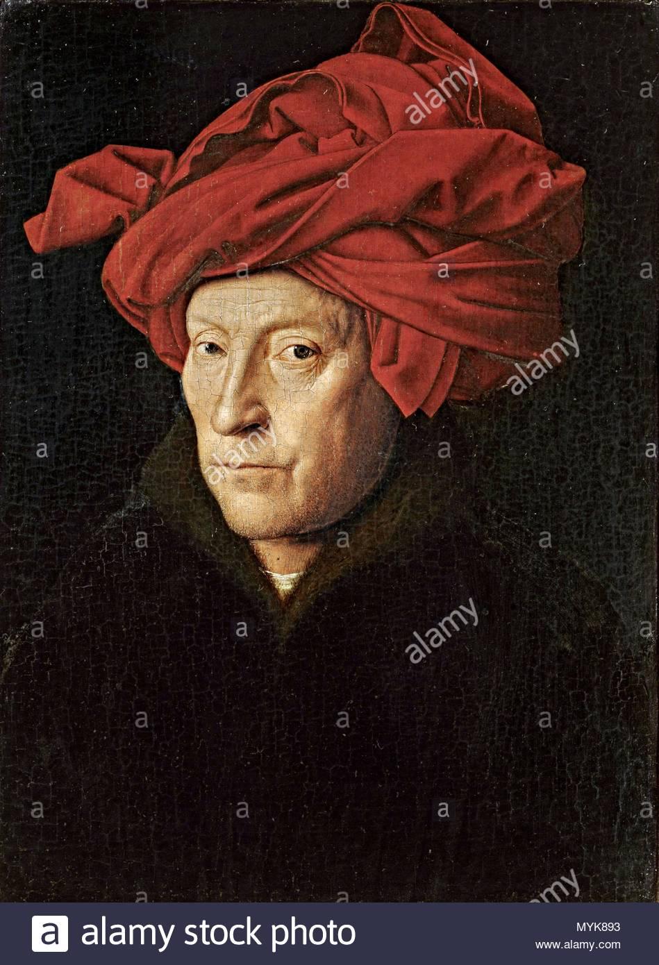 """Jan van Eyck / """"Ritratto di un uomo (Autoritratto?)"""", 1433, olio su pannello, 25,5 x 19 cm. Artwork noto anche come: Retrato de hombre con turbante. Museo: Galleria Nazionale. Immagini Stock"""