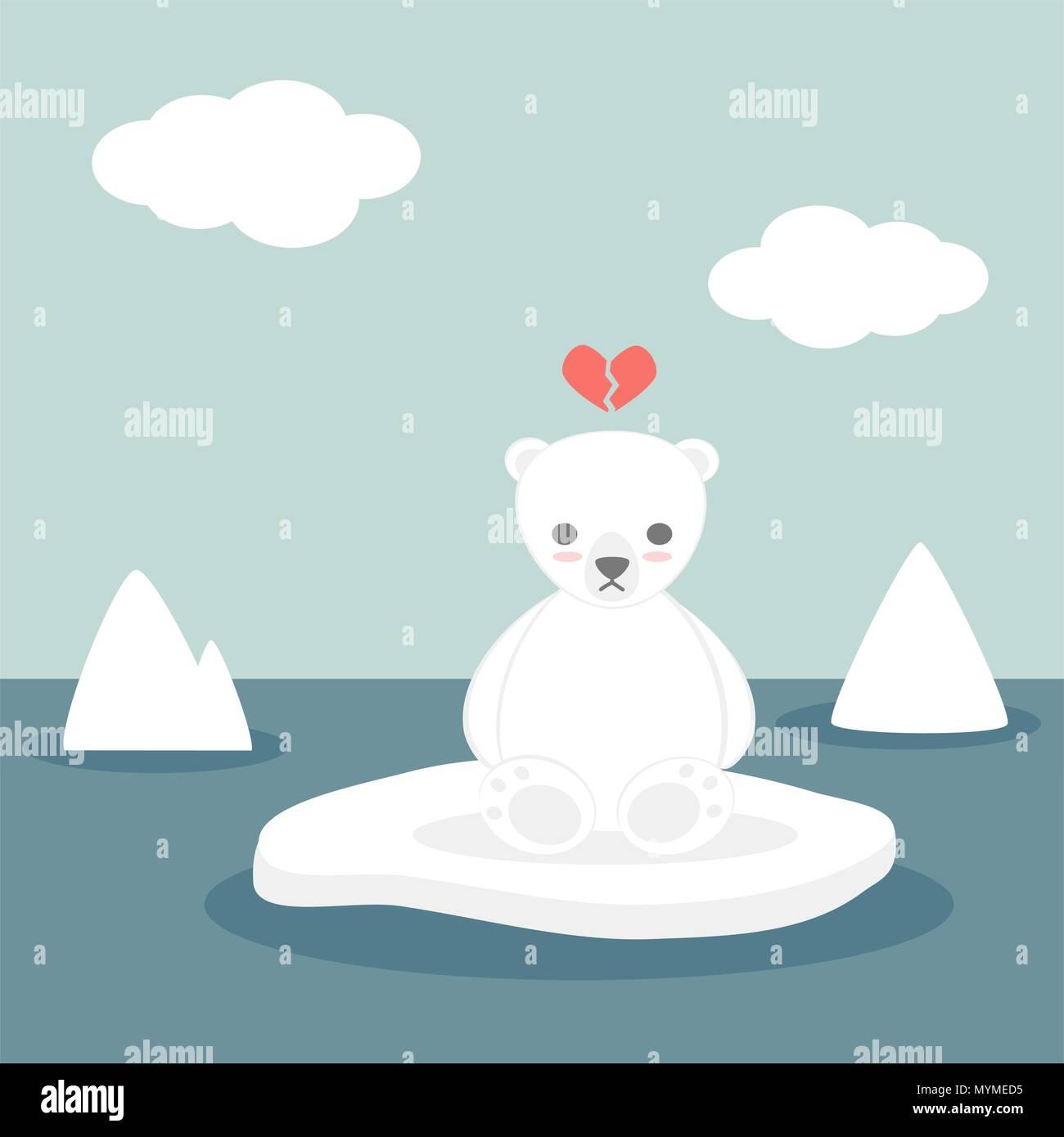 Carino incantevole vettore cartoon bianco orso polare su ghiaccio