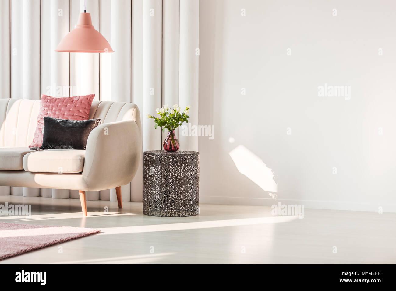 Semplice soggiorno interno con rosa e grigio cuscini sui divani ...
